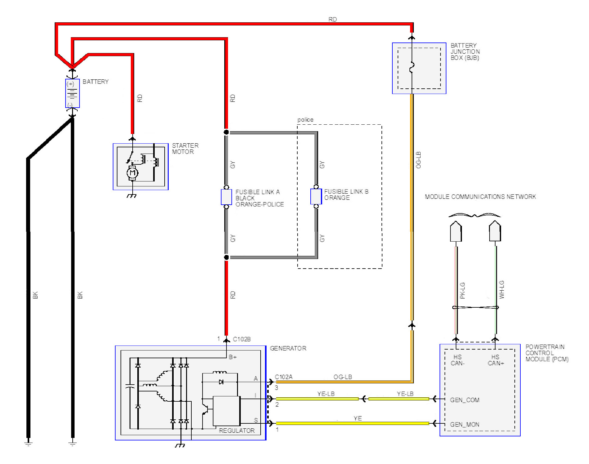 10crownviccharge ford crown victoria alternator wiring diagrams 1999 F150 Radio Wiring Diagram at gsmx.co