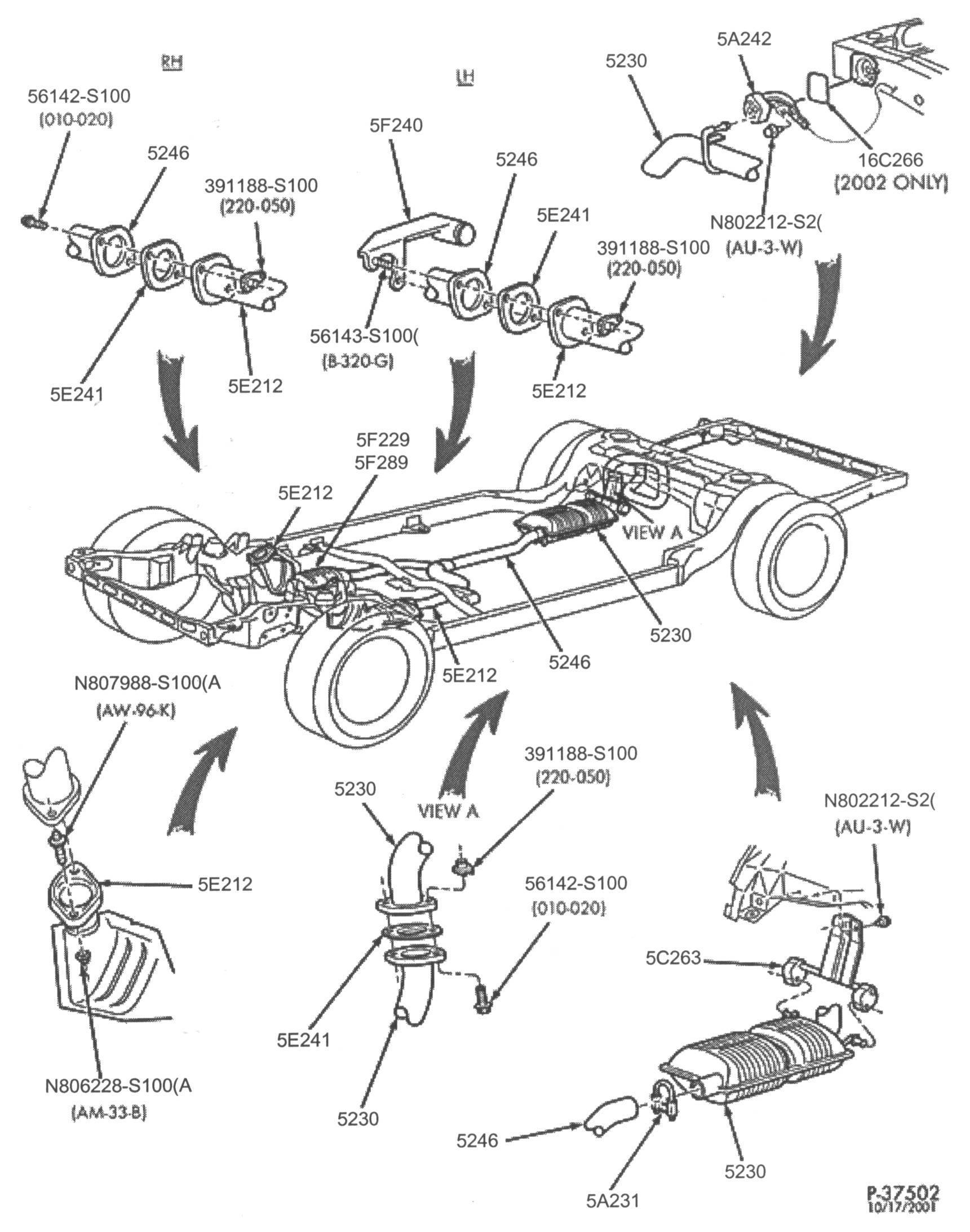 2002 ford exhaust diagram  ford  auto parts catalog and