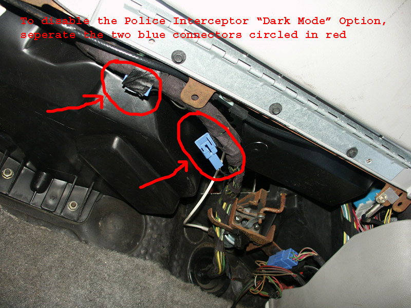 police interceptor dark car option this article is only relevant to 1995 through 2004 crown victoria police interceptors the connector in question is not present on earlier vehicles