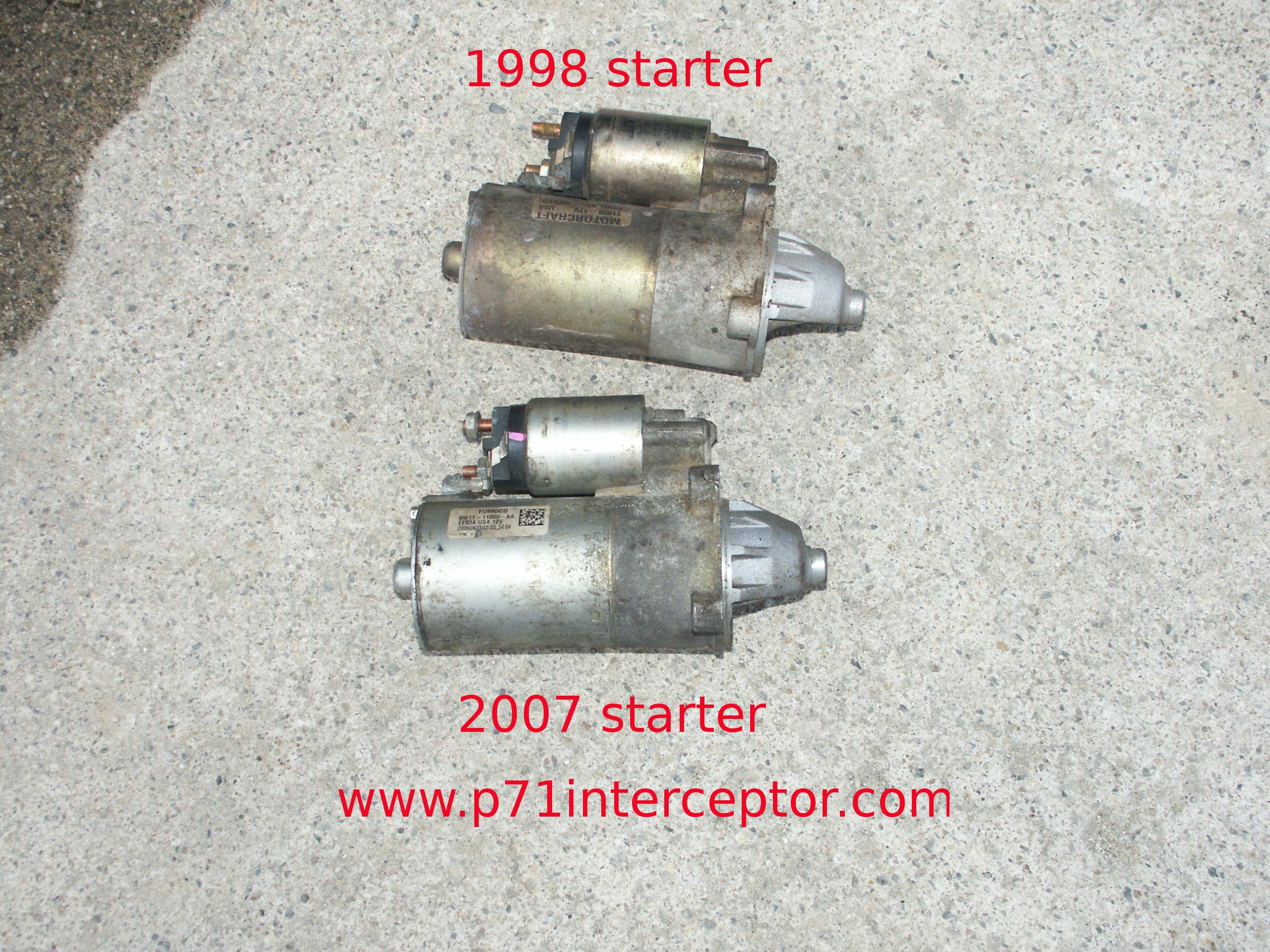 ford crown victoria p71 4 6l 3 bolt starter replacement starting in the 2006 model year ford introduced a new starter motor model 6w1t 11000 aa this starter is nearly identical to the earlier f75u 11000 ac