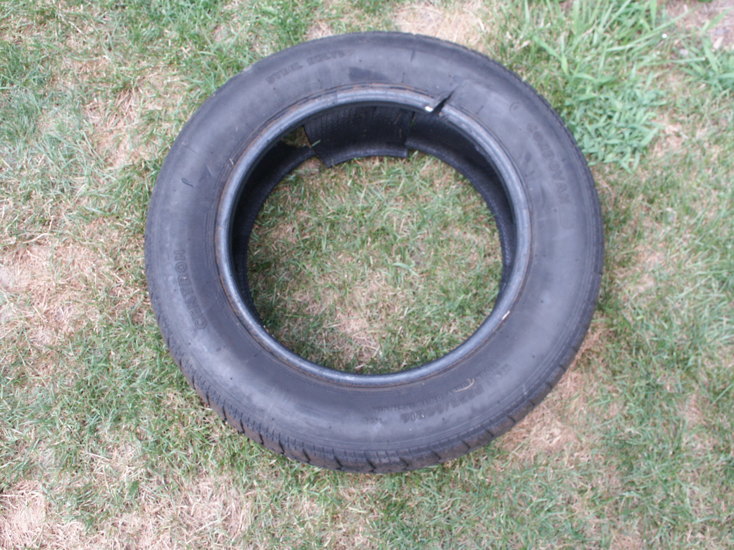 Cutting apart a steel belted radial car tire for What to do with old tires